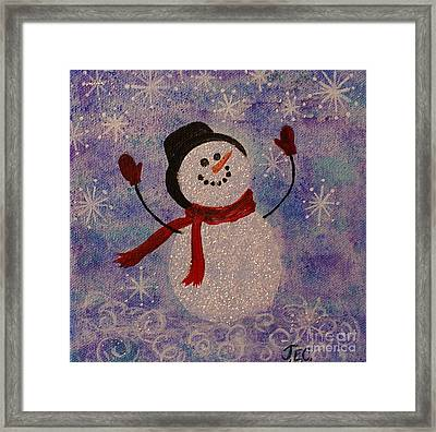 Framed Print featuring the painting Sam The Snowman by Jane Chesnut