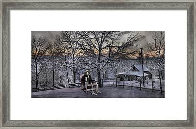 Sam Visits Winter Wonderland Framed Print by Betsy Knapp