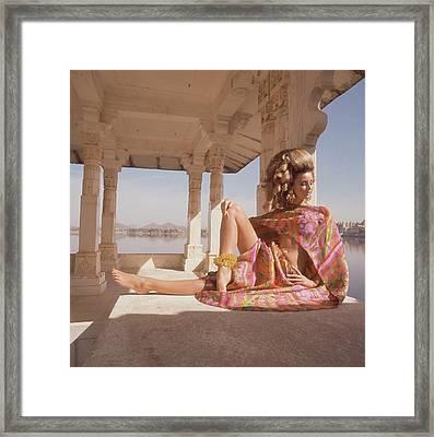 Samantha Jones Wearing A Bare-midriff Print Framed Print