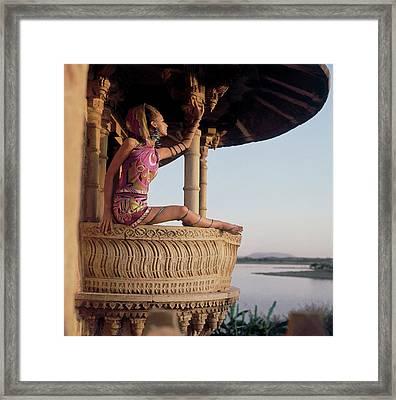 Samantha Jones Wearing A Hooded Print Silk Framed Print