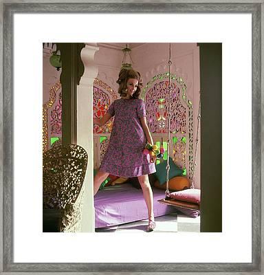 Samantha Jones Wearing A Print Tent Dress Framed Print