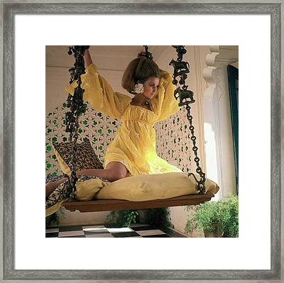 Samantha Jones Wearing A Yellow Dress By Rudi Framed Print
