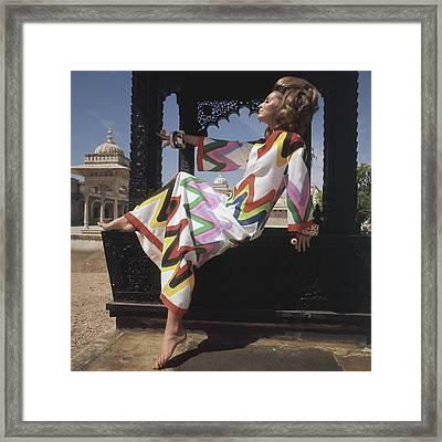 Samantha Jones Wearing A Zigzag Print Caftan Framed Print