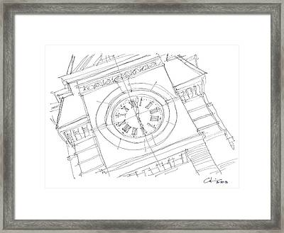 Framed Print featuring the drawing Samford Clock Sketch by Calvin Durham