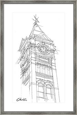 Samford Hall Sketch Framed Print by Calvin Durham