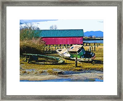 Samish Island Abandoned Boat Framed Print by John Parks