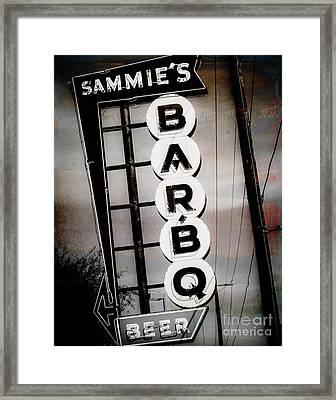 Sammie's Bbq Framed Print by Sonja Quintero