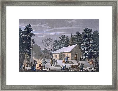 Samoyeds At A Nighttime Fair Framed Print by E. Karnejeff