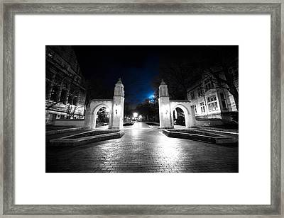 Iu Bloomington Sample Gates At Night Framed Print