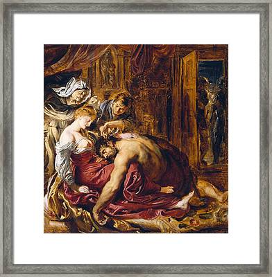Samson And Delilah, C.1609 Oil On Panel Framed Print by Peter Paul Rubens
