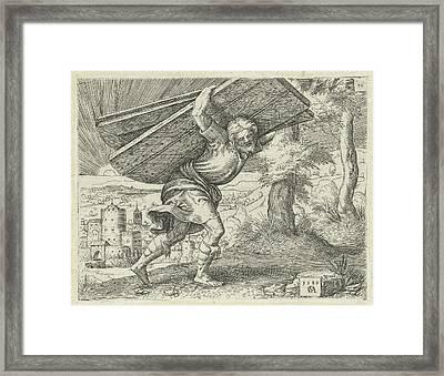 Samson Carrying The Gates Of Gaza, Print Maker Cornelis Framed Print