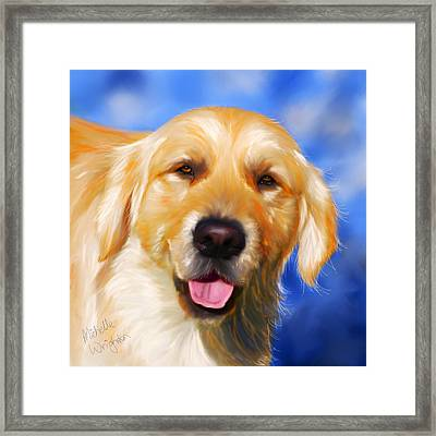 Happy Golden Retriever Painting Framed Print by Michelle Wrighton