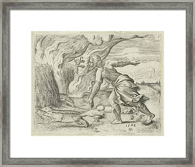 Samson Puts The Wheat Fields Of The Philistines In Fire Framed Print by Cornelis Massijs
