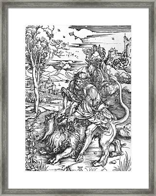Samson Slaying The Lion Framed Print by Albrecht Durer or Duerer