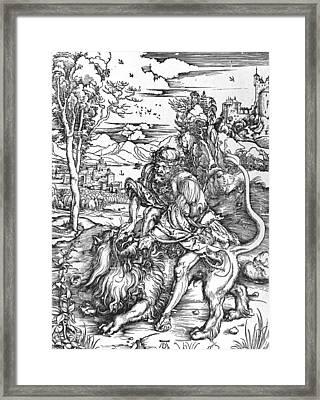 Samson Slaying The Lion Framed Print