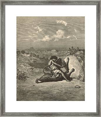 Samson Slaying The Lion Framed Print by Antique Engravings