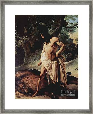 Samson Slays The Lion Framed Print by Pg Reproductions