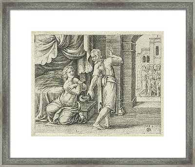 Samsons Wife Begs Him To Reveal The Solution To The Riddle Framed Print by Cornelis Massijs