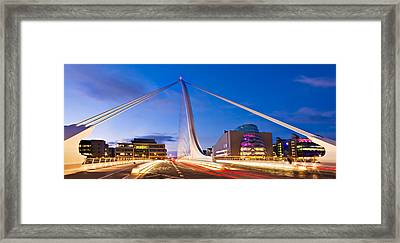 Framed Print featuring the photograph Samuel Beckett Bridge And National Conference Centre / Dublin by Barry O Carroll
