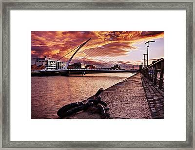 Framed Print featuring the photograph Samuel Beckett Bridge At Dusk - Dublin by Barry O Carroll