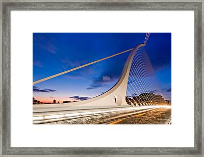 Framed Print featuring the photograph Samuel Beckett Bridge At Night / Dublin by Barry O Carroll