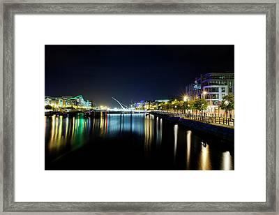 Samuel Beckett Bridge At Night, Liffey Framed Print by Panoramic Images