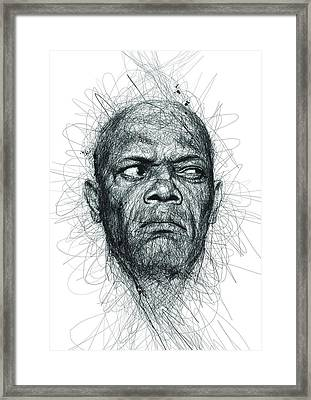 Samuel L Jackson  Framed Print by Vince Low