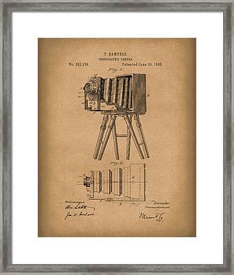 Samuels Photographic Camera 1885 Patent Art Brown Framed Print by Prior Art Design