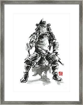 Samurai Sword Bushido Katana Armor Silver Steel Plate Metal Kabuto Costume Helmet Martial Arts Sumi- Framed Print by Mariusz Szmerdt