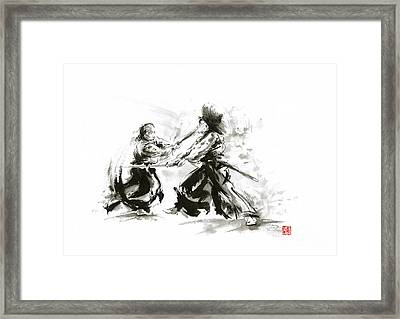 Samurai Sword Bushido Katana Martial Arts Budo Sumi-e Original Ink Sword Painting Artwork Framed Print by Mariusz Szmerdt