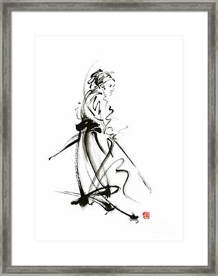 Samurai Sword Bushido Katana Martial Arts Sumi-e Original Ink Painting Artwork Framed Print by Mariusz Szmerdt