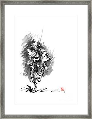 Samurai Sword Bushido Katana Martial Arts Sumi-e Original Running Run Man Design Ronin Ink Painting  Framed Print by Mariusz Szmerdt