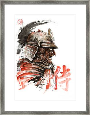 Samurai Warrior  Tengu Mask  Japanese Calligraphy. Framed Print by Mariusz Szmerdt