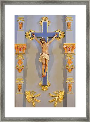 San Antonio - Crucifix Mission San Jose Framed Print by Christine Till