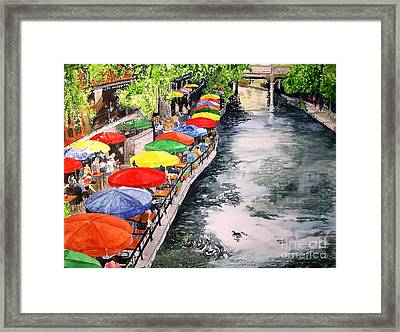 Framed Print featuring the painting San Antonio River Walk by Tom Riggs