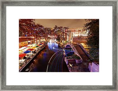 San Antonio Riverwalk And Christmas Lights - San Antonio Texas Framed Print by Silvio Ligutti