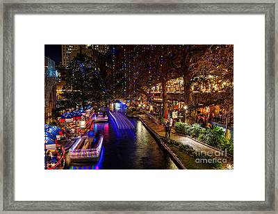 San Antonio Riverwalk During Christmas Framed Print by Silvio Ligutti