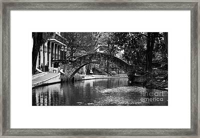 San Antonio Riverwalk Footbridge Black And White Framed Print by Shawn O'Brien