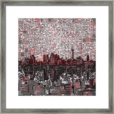 San Antonio Skyline Abstract Framed Print