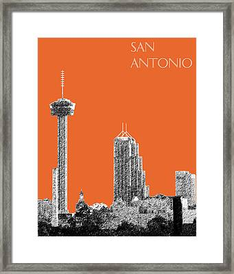 San Antonio Skyline - Coral Framed Print by DB Artist