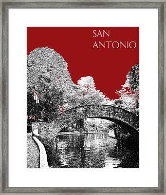 San Antonio Skyline River Walk - Dark Red Framed Print by DB Artist