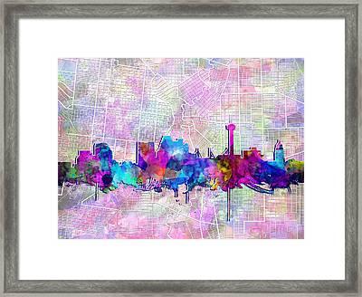 San Antonio Skyline Watercolor 3 Framed Print