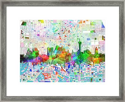 San Antonio Skyline Watercolor 6 Framed Print