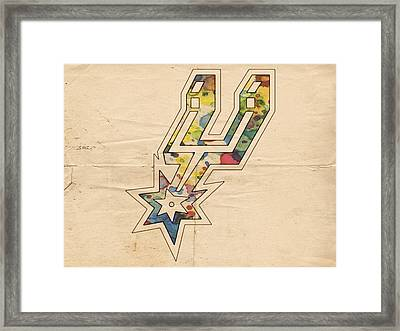 San Antonio Spurs Logo Art Framed Print by Florian Rodarte