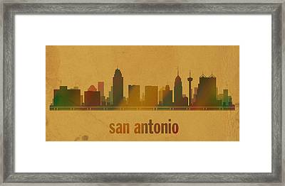 San Antonio Texas City Skyline Watercolor On Parchment Framed Print by Design Turnpike