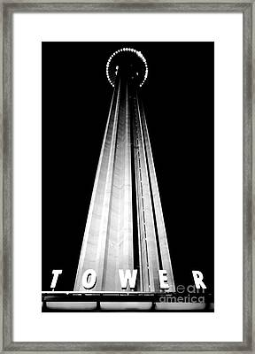 San Antonio Tower Of The Americas Hemisfair Park Space Needle Tower Restaurant Black And White Framed Print by Shawn O'Brien