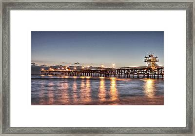 San Clemente Pier At Night Framed Print by Richard Cheski
