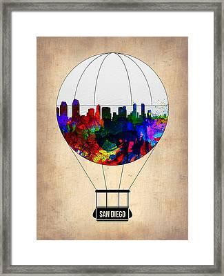 San Diego Air Balloon Framed Print by Naxart Studio