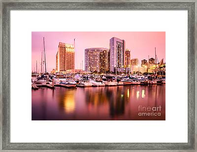 San Diego At Night With Skyline And Marina Framed Print