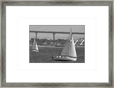 Framed Print featuring the digital art San Diego Bay Sailing 1 by Kirt Tisdale